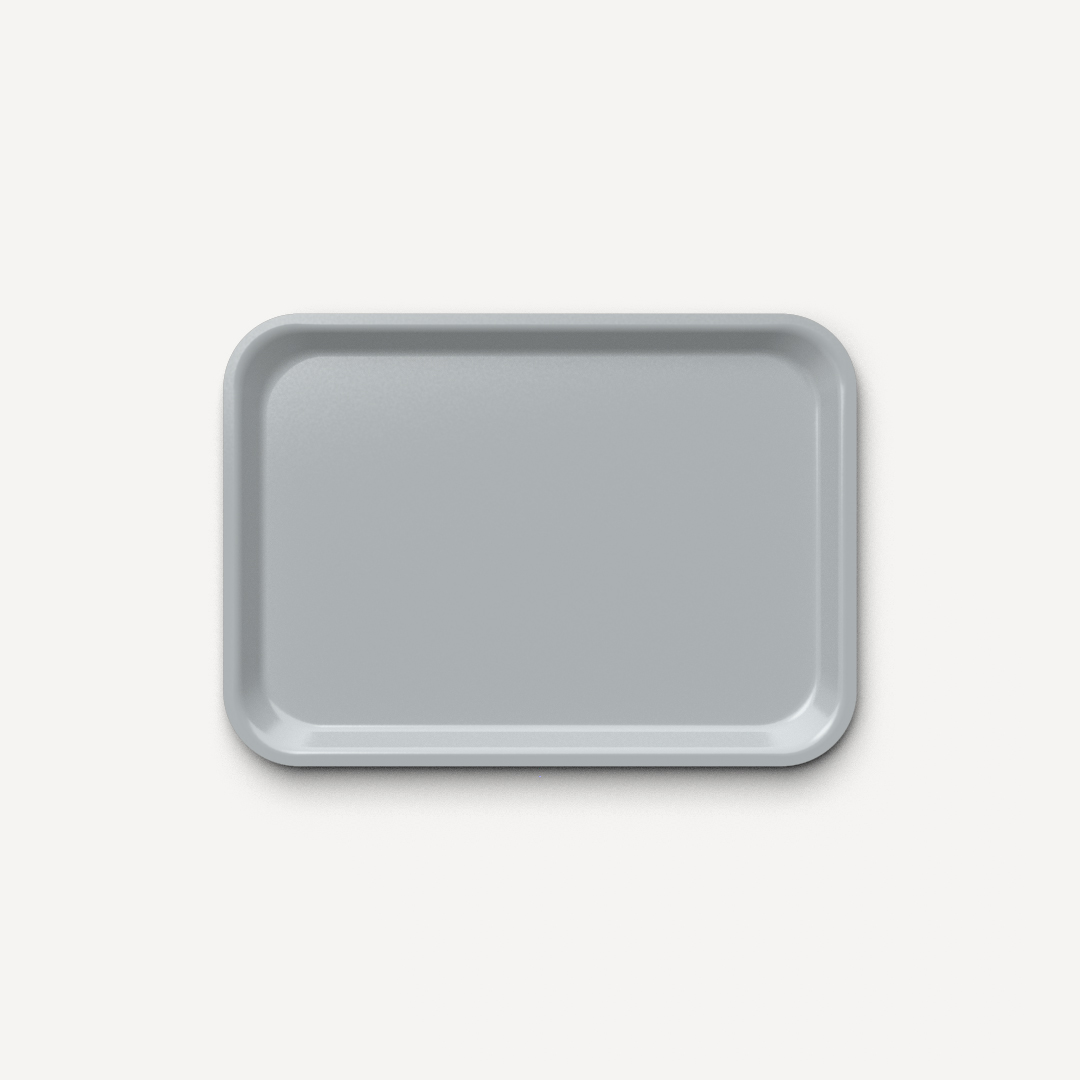 Bandeja prensada de alta resistencia color gris brillo 42x30 cm