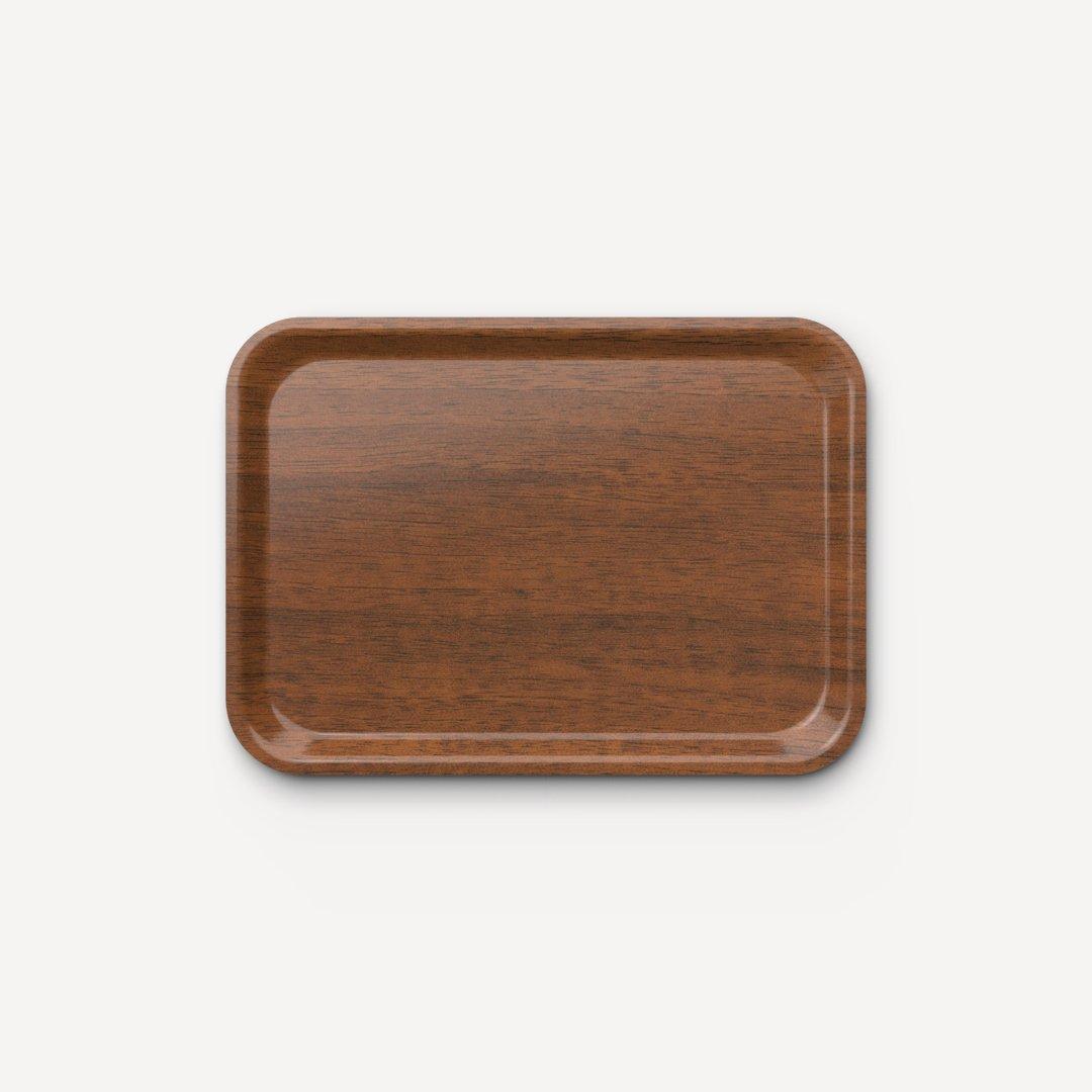 Bandeja prensada de alta resistencia efecto madera cerezo brillo 42x30 cm